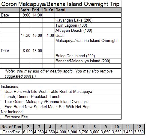DIY Coron Reservation Form – Tour Reservation Form